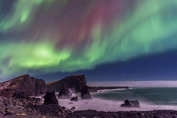 Northern Lights over Reykjanes Peninsula Sea Stacks, Iceland. Credit: Diana Robinson via Flickr (CC BY-ND 2.0)