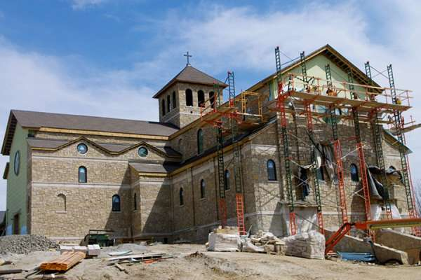 Construction of the priory church.